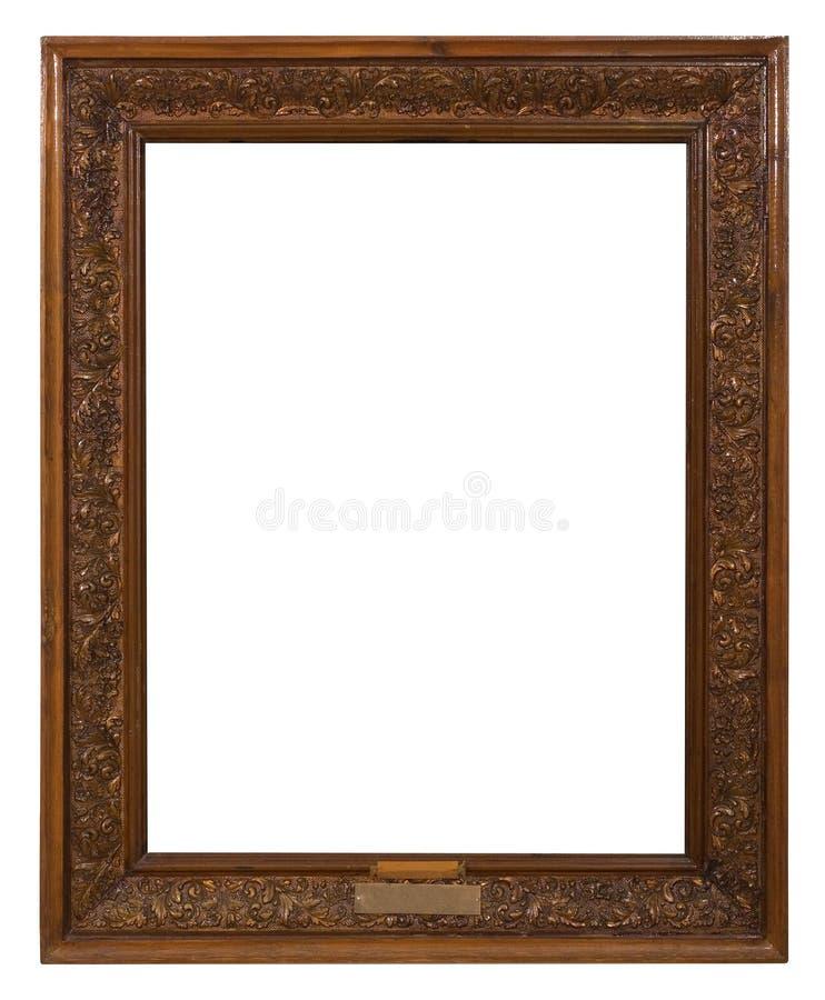 Antique golden frame isolated on white background stock photo