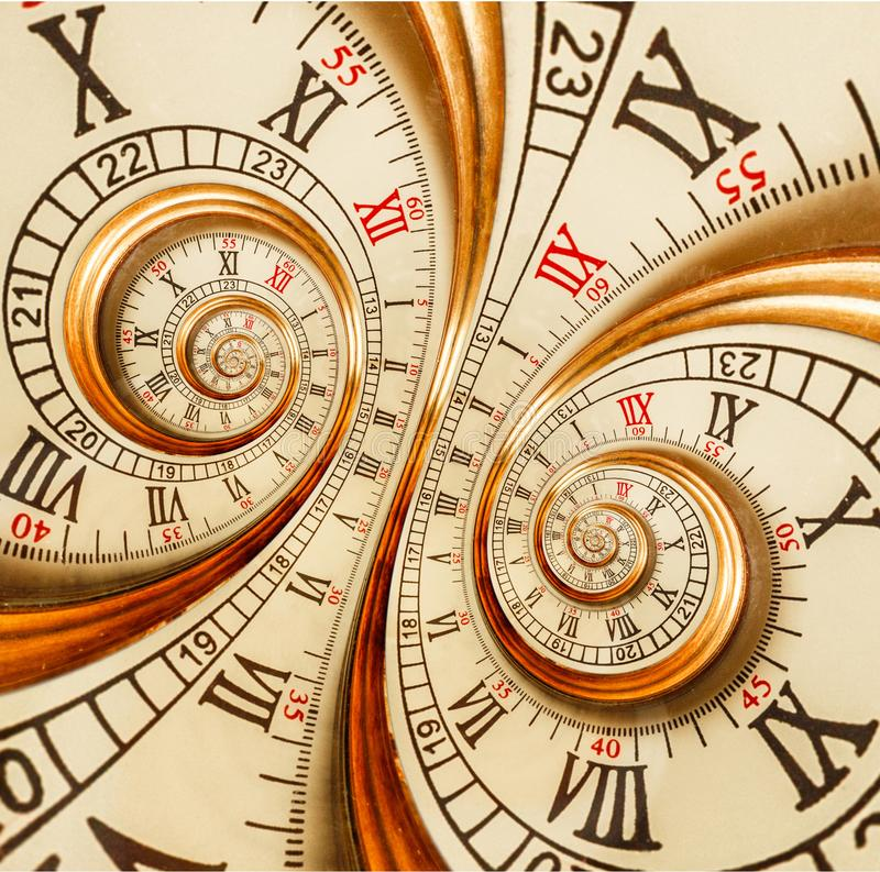 Antique old clock abstract fractal double spiral Watch surreal clock unusual texture fractal pattern background Golden old fashion royalty free stock image