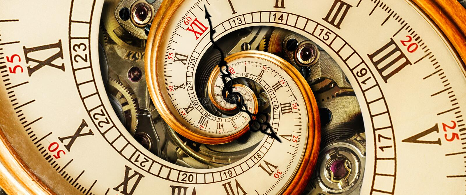 Golden yellow antique old clock spiral abstract fractal. Retro clock with mechanism in the background. Time spiral concept image royalty free stock images