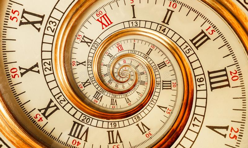 Antique old clock abstract fractal spiral. Watch clock mechanism unusual abstract texture fractal pattern background. Old clocks. Antique old clock abstract royalty free stock photos