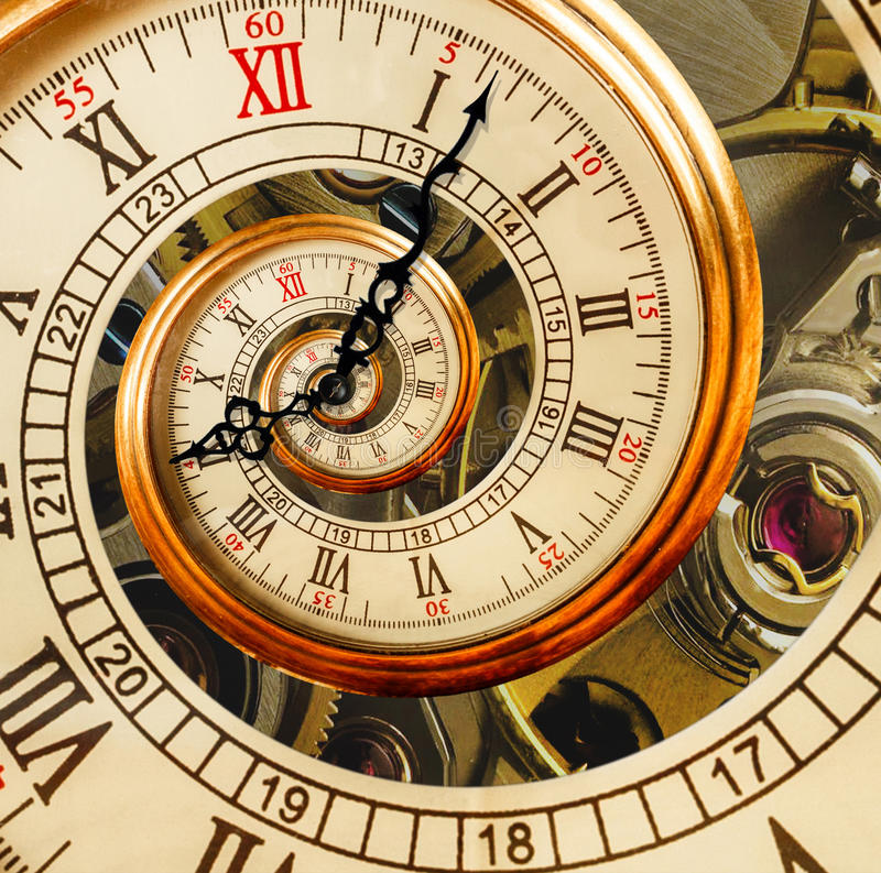Antique old clock abstract fractal spiral. Watch clock mechanism. Unusual abstract texture fractal pattern background. Old fashion clock roman and arabic royalty free stock photo