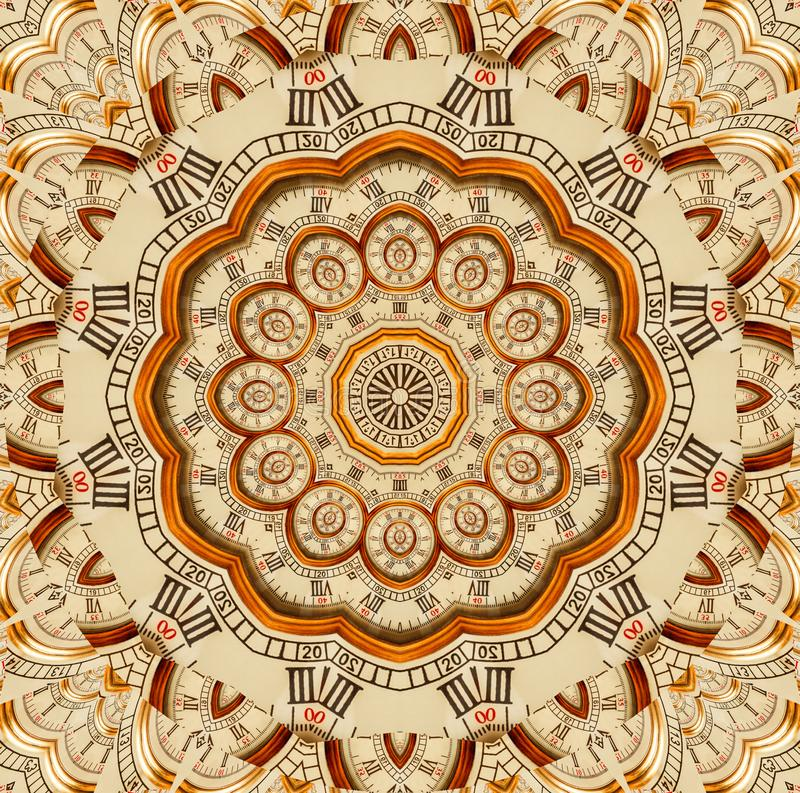 Antique old golden clock kaleidoscope pattern abstract background. Abstract surreal clock pattern kaleidoscope Golden watch patter royalty free illustration
