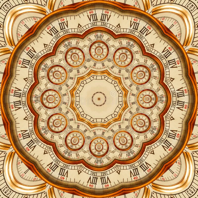 Antique old golden clock kaleidoscope pattern abstract background. Abstract surreal clock pattern kaleidoscope Golden watch patter stock illustration