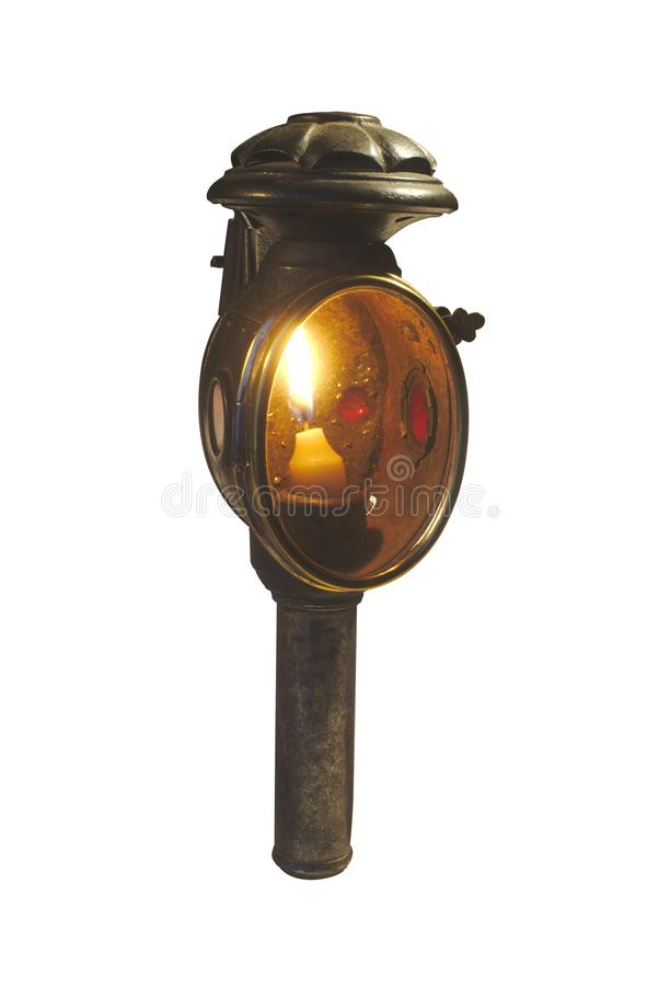 Antique, old lamp for horse car, cut out on white background stock photography