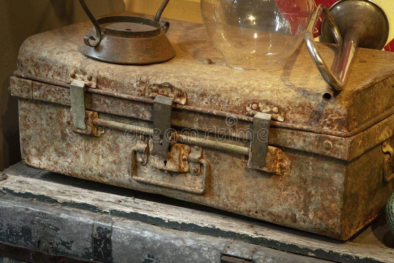 Antique old vintage metal suitcase.  royalty free stock photography