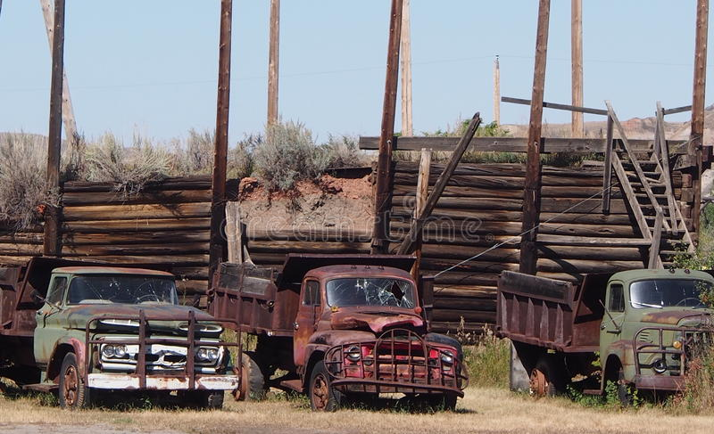 Antique One Ton Trucks At Atlas Coal Mine Drumheller stock photography