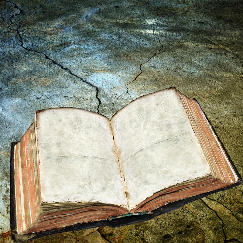 Download Antique Open Book On Cracked Surface Stock Illustration - Image: 20339185