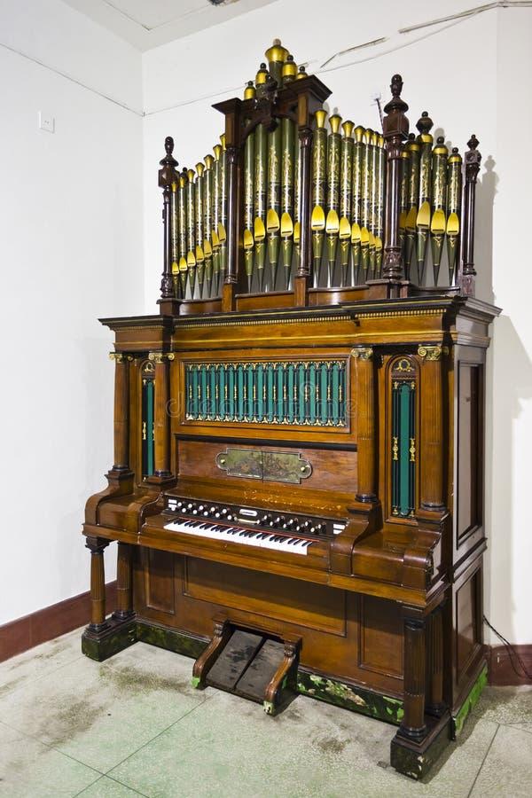 Antique organ. An organ in a church royalty free stock photos