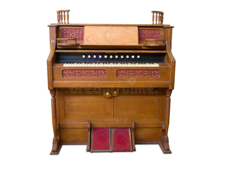 Antique organ. Isolated on white royalty free stock images