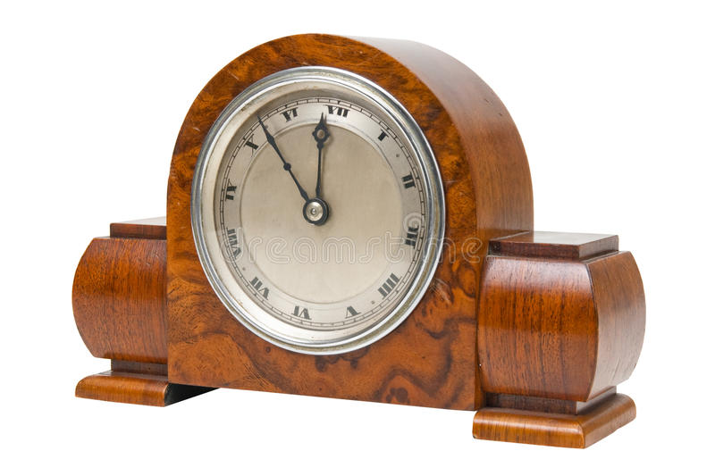 Antique ornate desktop clock. Isolated on white royalty free stock image