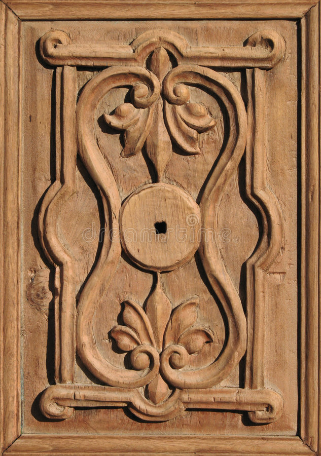 Antique ornate wooden door det royalty free stock photography