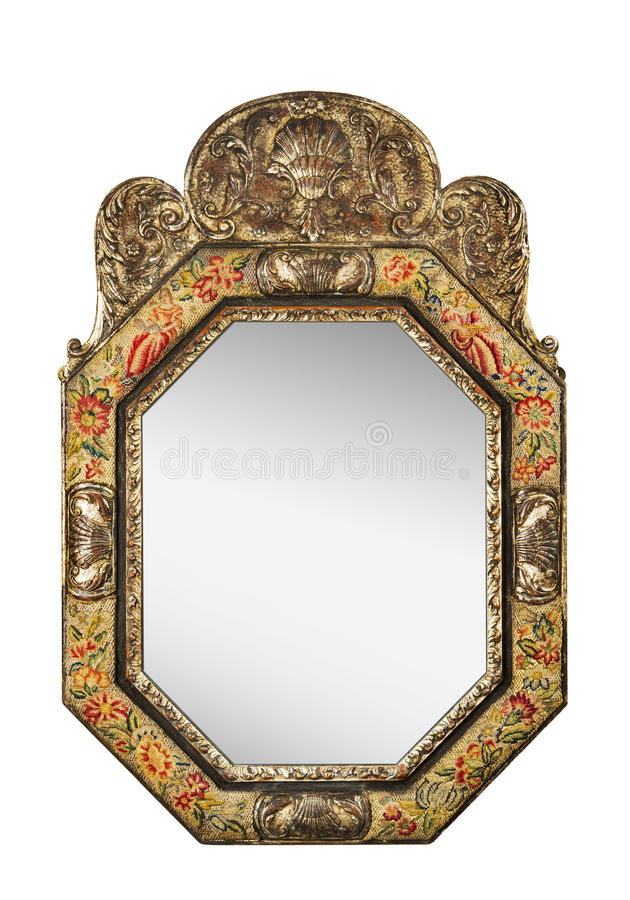 Antique oval mirror with tapestry frame isolated on white stock photo