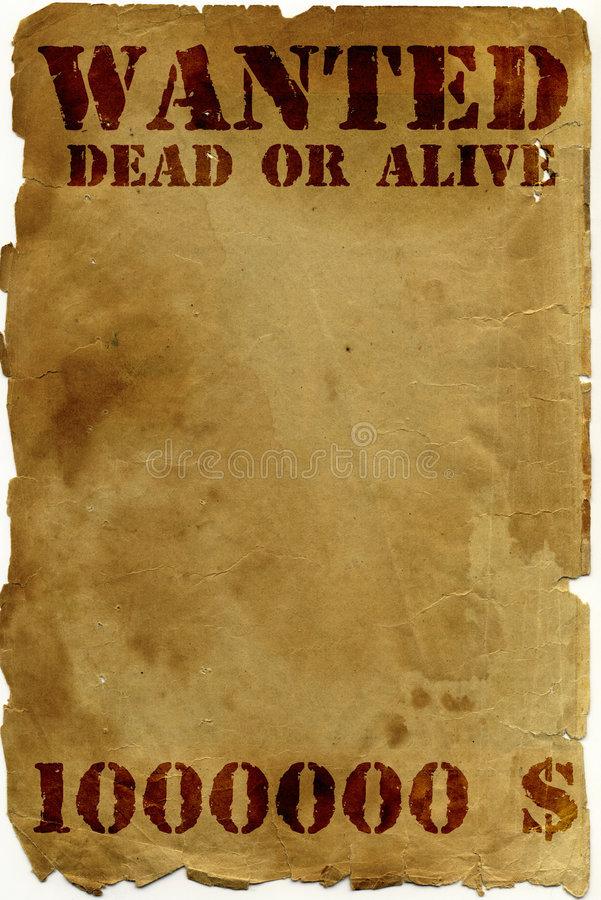 Antique page - wanted. Dead or alive stock image