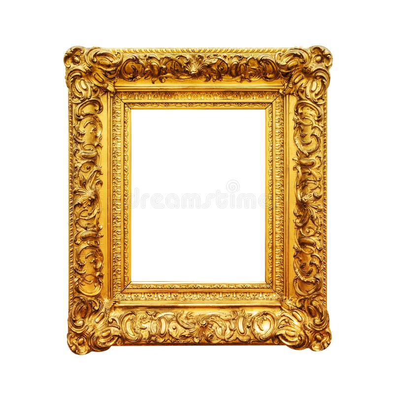 Antique painting gold frame isolated on white stock photography