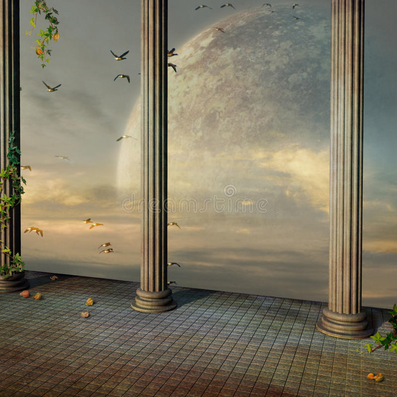 Antique palace. Beautiful view in antique palace of the cosmic sunset royalty free illustration
