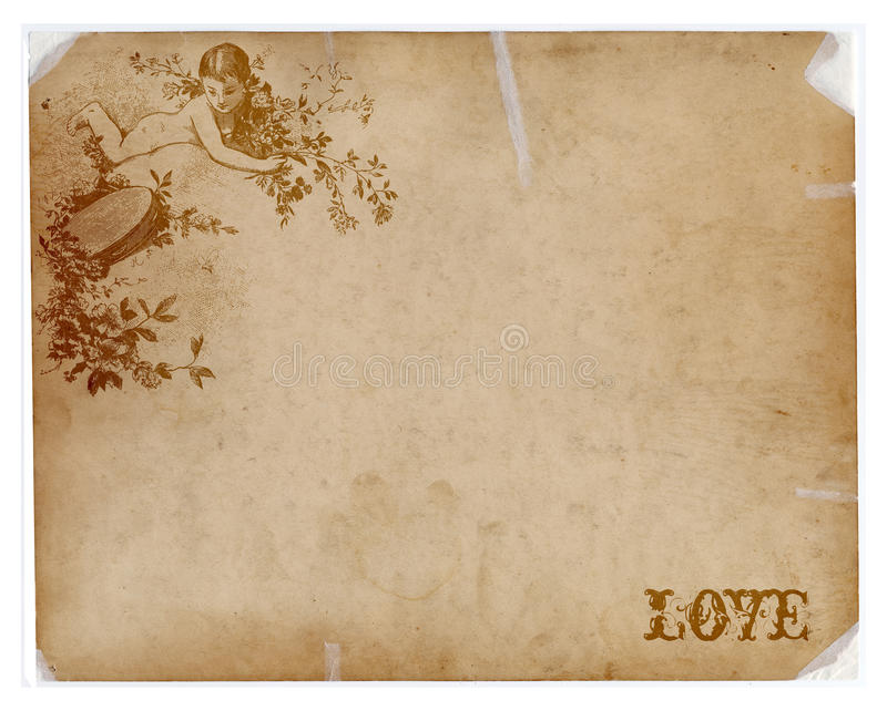 Download Antique Paper With Angel And Love Text Stock Image - Image: 12385341