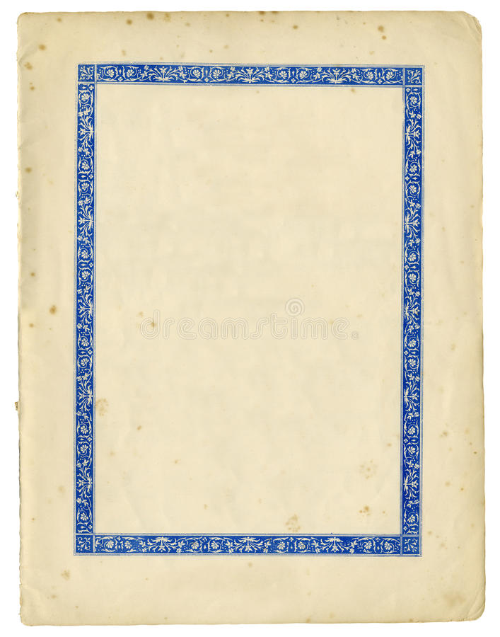 Antique paper with decorative frame and torn edges royalty free stock photo