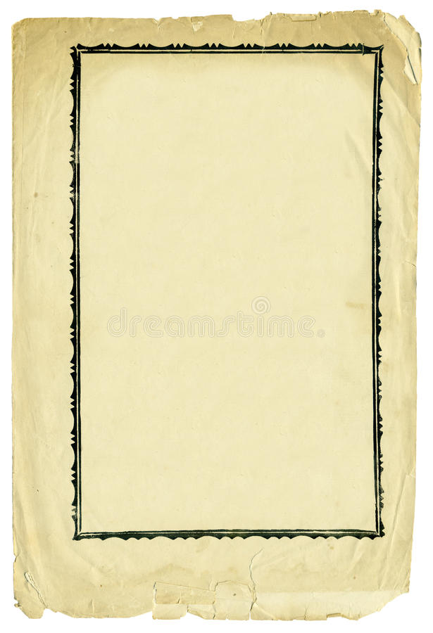 Antique paper with decorative frame and torn edges stock photo
