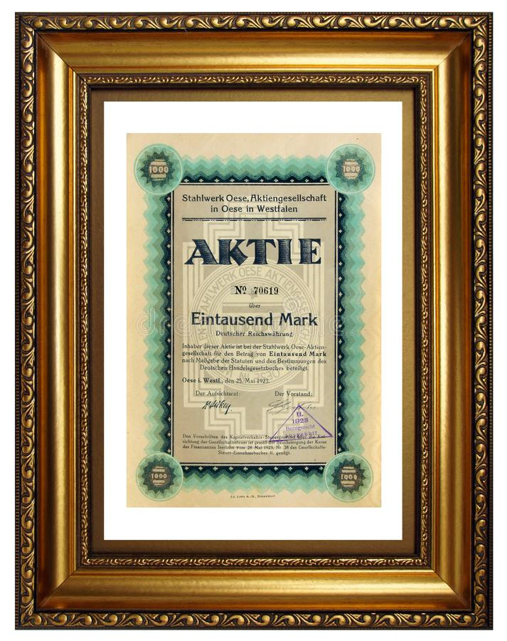 Antique paper share certificate royalty free stock image