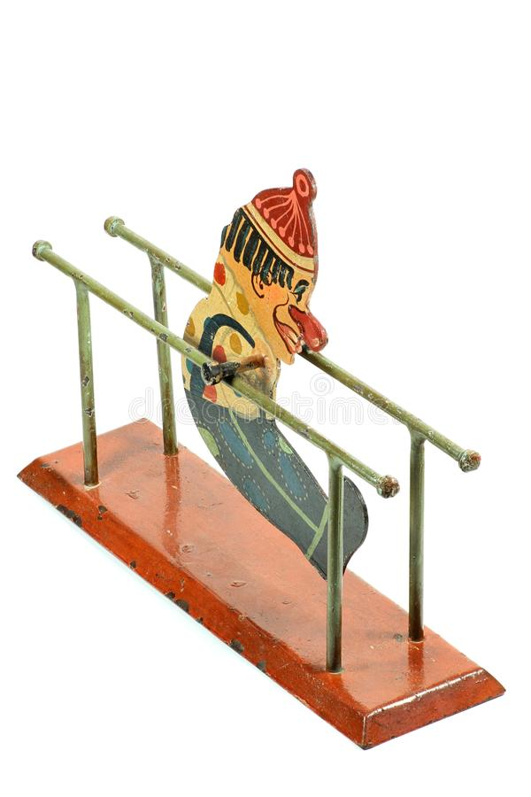 Antique parallel bars gymnast toy. On white background royalty free stock image