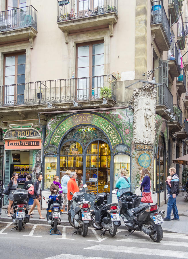 Antique pastry shop in Ramblas street, Barcelona stock image