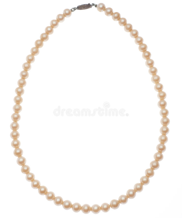 Antique Pearl Necklace. Isolated on White with a Clipping Path royalty free stock photography