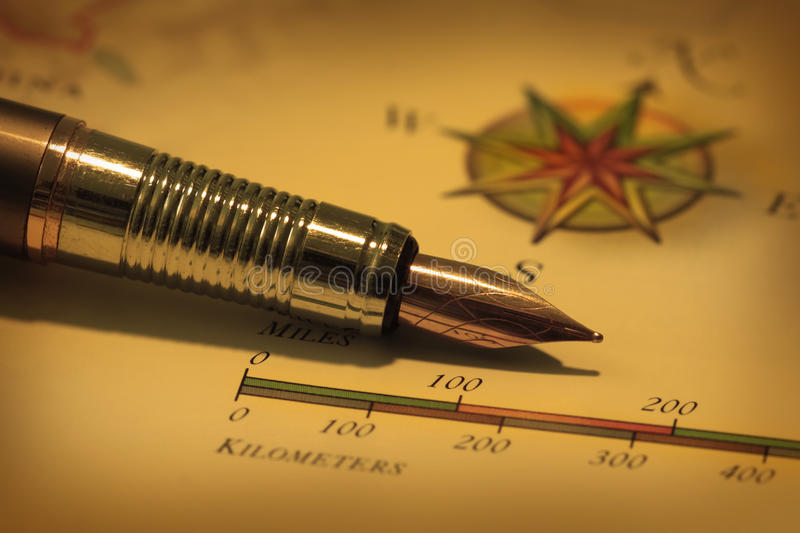 Download Antique pen on map stock image. Image of compass, position - 14853839