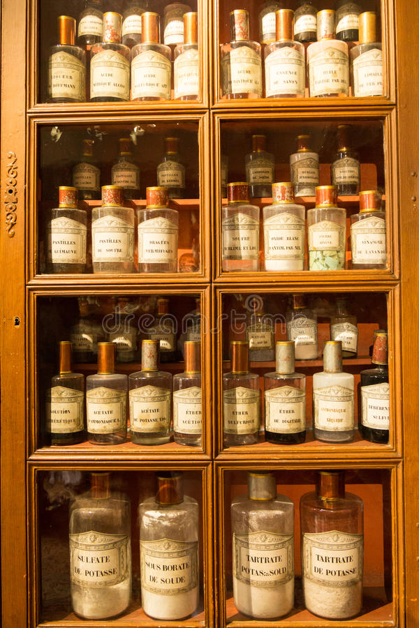 Antique pharmacy, Beaune, France. Medical supplies at the historic 15th century hospital Hotel Dieu in Beaune, France stock photo