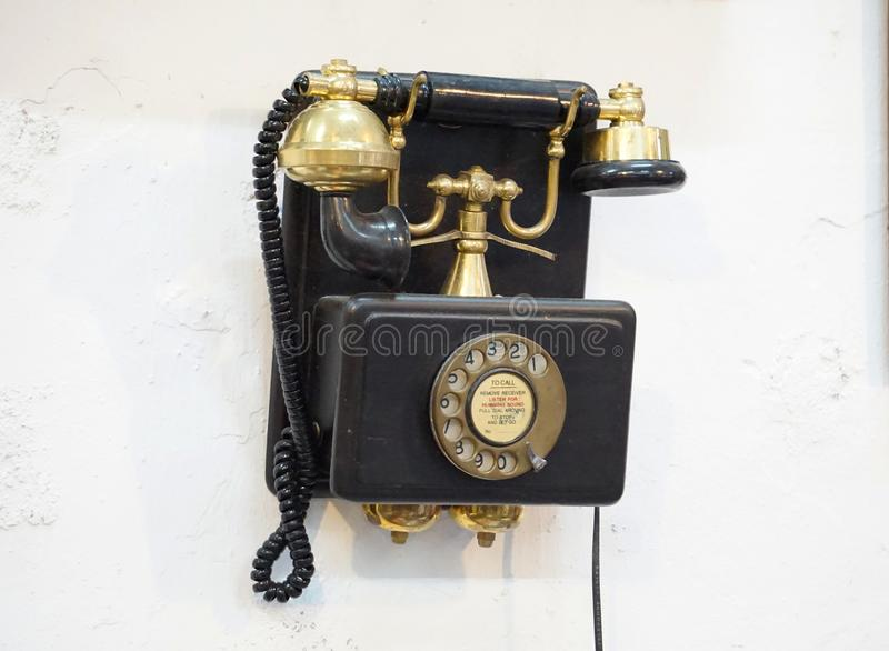 Antique phone can also operate. stock photo