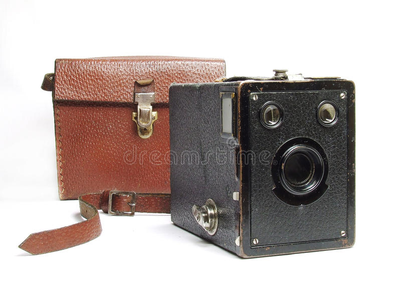Vintage box camera. Kodak Brownie vintage camera with leather case stock photography