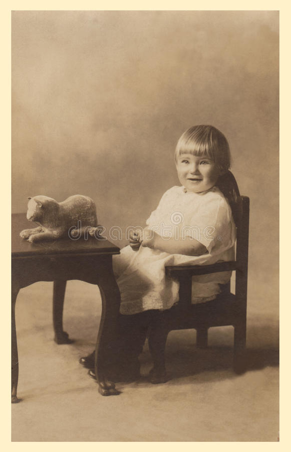Download Antique Photograph Of A Baby Girl. Stock Image - Image of retro, sitting: 22793397