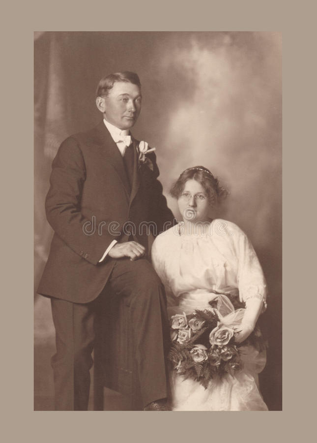 Download Antique Photograph Of A Wedding Couple Stock Photo - Image of portrait, groom: 22699610