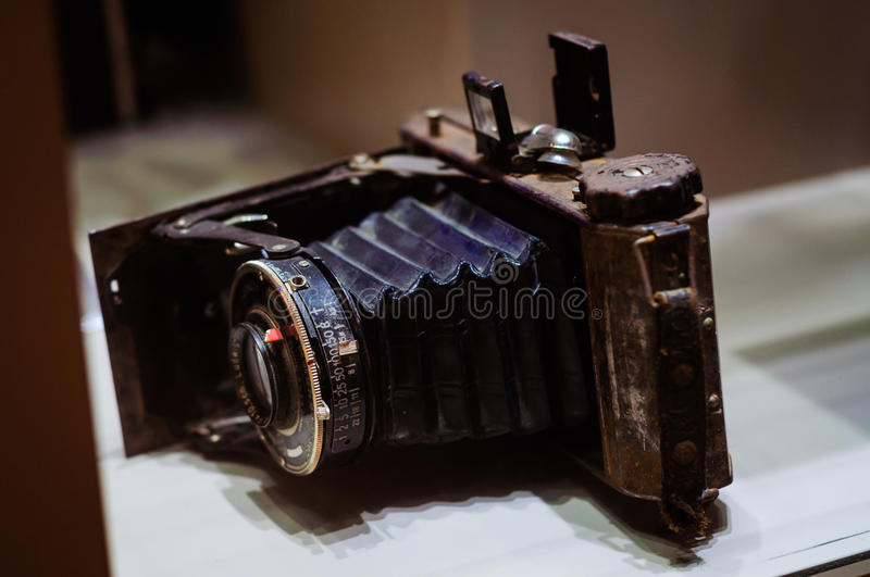 Antique Photography Camera In Museum Showcase royalty free stock image
