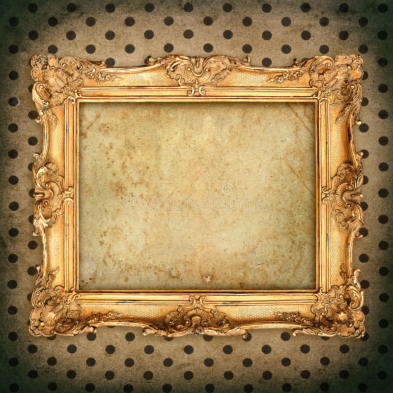 antique picture frame over aged wallpaper. vintage grunge background royalty free stock photo