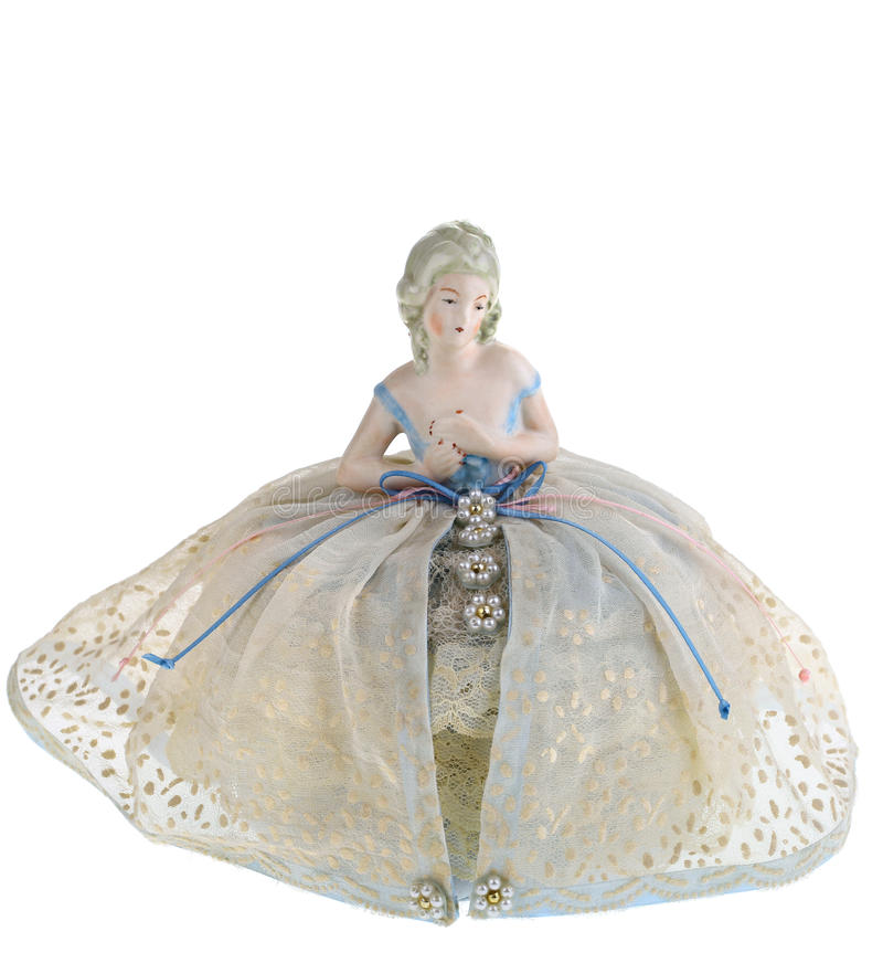 Antique Pin Cushion with Bust and Dress stock photos