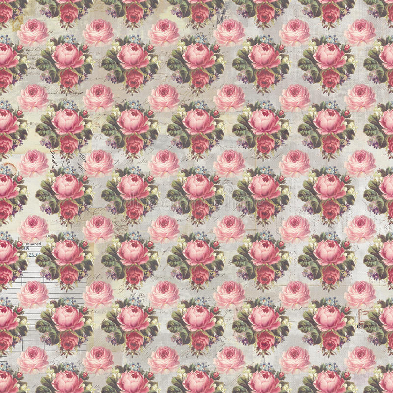 Antique pink and red shabby chic rose repeat pattern wallpaper. Antique shabby chic faded rose seamless repeat pattern wallpaper with antique script text in the royalty free stock photos