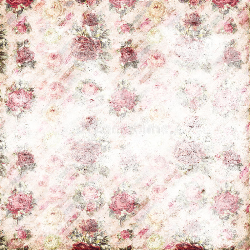 Antique pink and red shabby chic rose repeat pattern wallpaper. Antique shabby chic faded rose seamless repeat pattern wallpaper with antique script text in the royalty free stock images