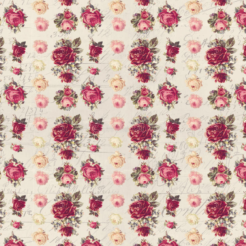 Antique pink and red shabby chic rose repeat pattern wallpaper. Antique shabby chic rose seamless repeat pattern wallpaper with antique script text in the stock image