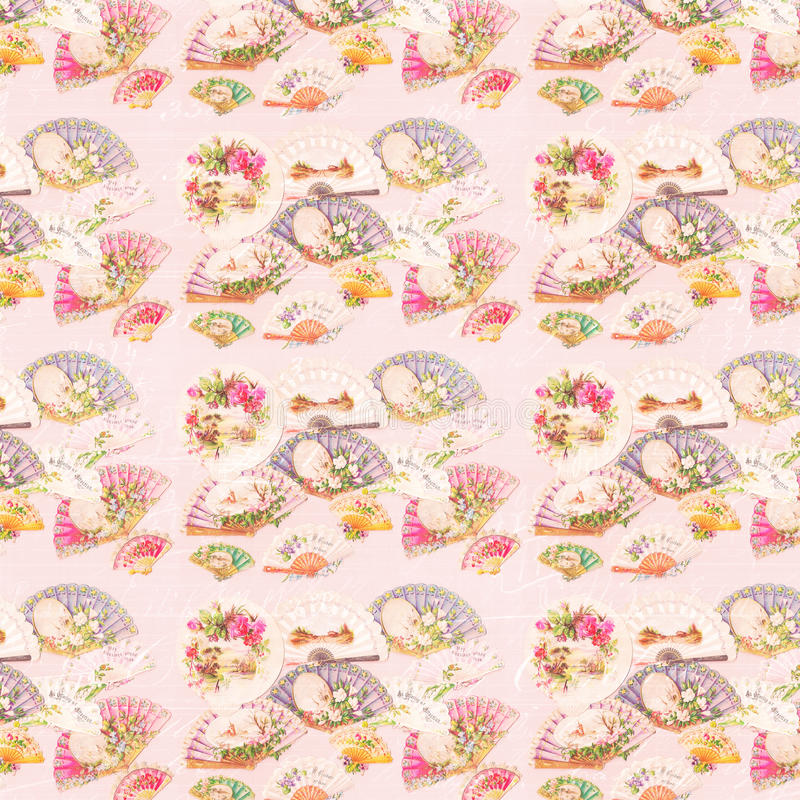 Free Antique Pink Victorian Fan And Flowers Pattern Background Stock Image - 47644251