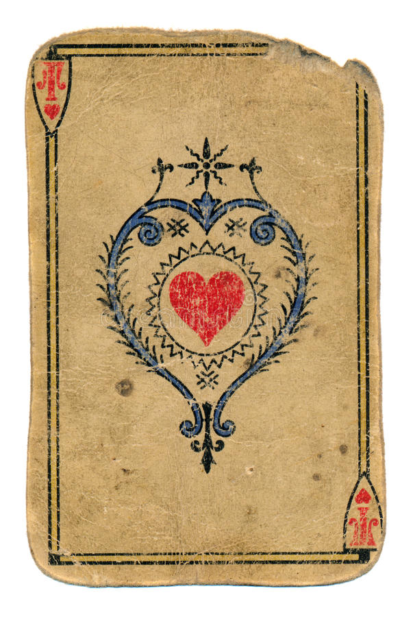 Antique playing card ace of hearts isolated on white. Antique used grunge playing card ace of hearts isolated on white royalty free stock photography