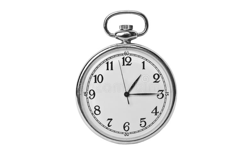 Antique pocket watch. Isolated on white royalty free stock photos