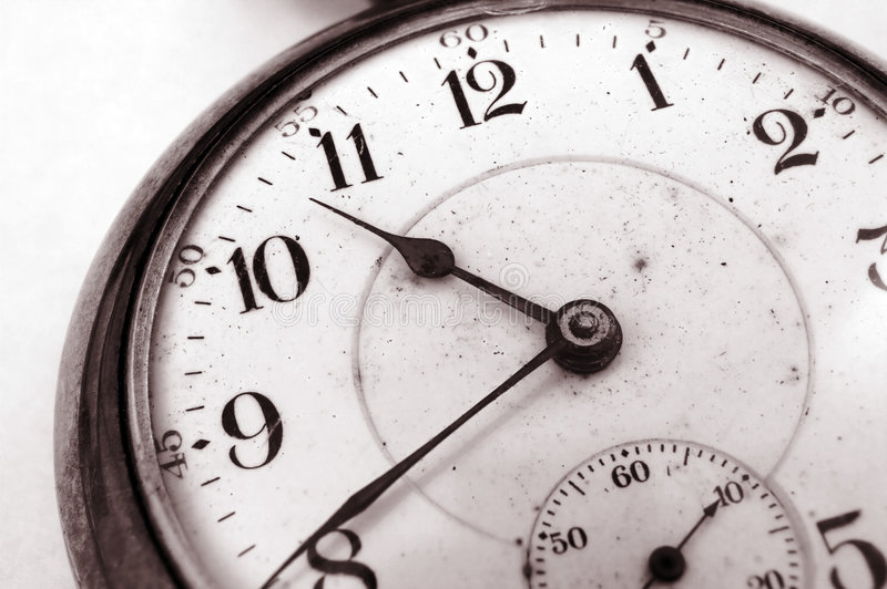 Antique pocket watch. Closeup on very old pocket watch stock photography
