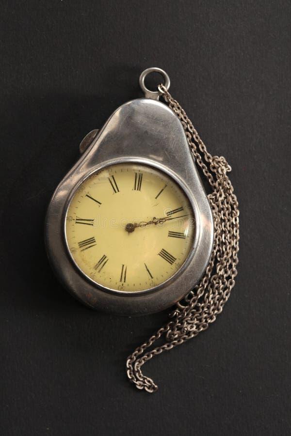 Antique pocket watch in case stock photos