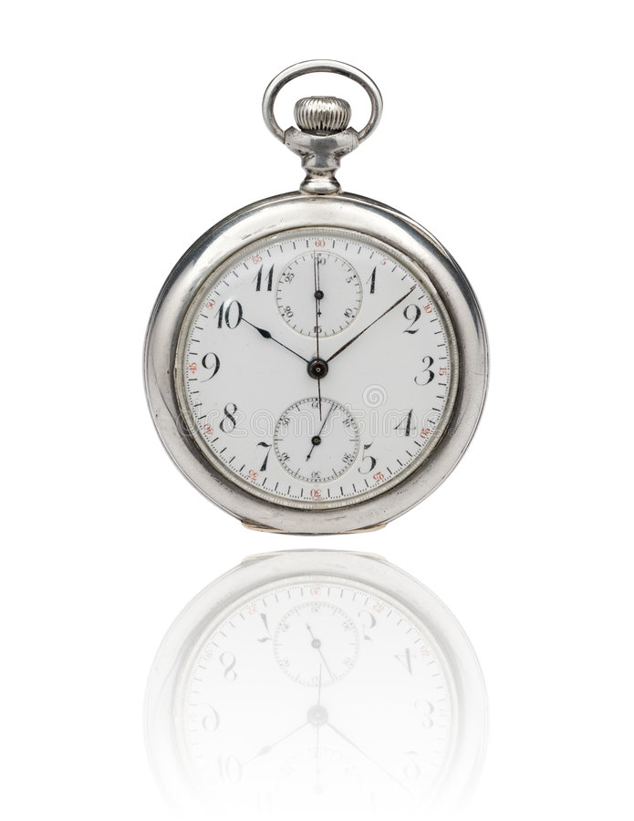Antique pocket watch with clipping path. Antique pocket chronometer and watch with clipping path on white stock photo