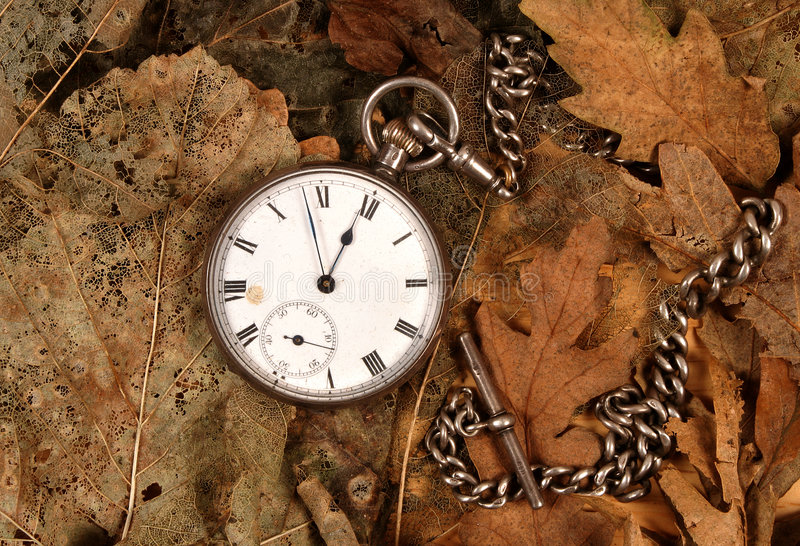 Antique pocket watch on dead leaves stock images