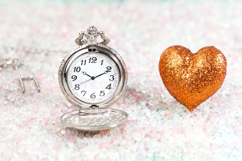 Antique pocket watch and heart shape,Valentine royalty free stock photo