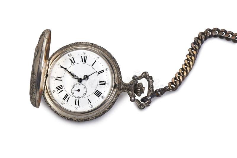 Antique pocket watch. Isolated on white backgroun stock photo