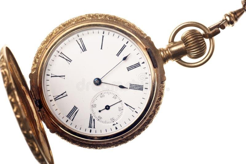 Antique pocket watch isolated on white background stock photo