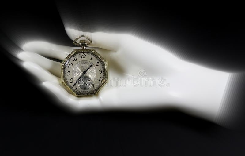 Antique Pocket Watch in Mannequin Hand stock images