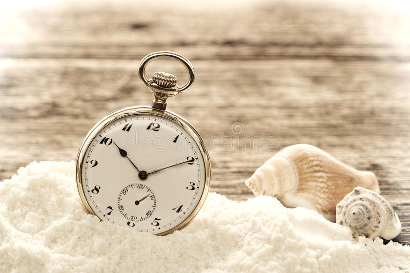 Antique Pocket Watch in Sand on Aged Wood Boards stock photos